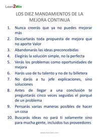 diez mandamientos del Kaizen
